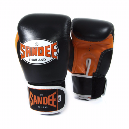 Sandee Neon Velcro Boxing Gloves - Orange
